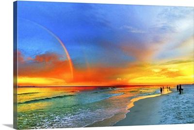 Rainbow Sunset Florida Beach Seascape Orange Blue