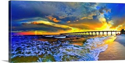 Rainbow Sunset Seascape Beach Blue Pier