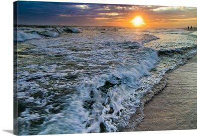 Receding Sea Waves-Crashing Shore Dark Sunset