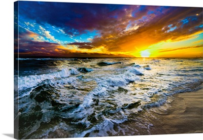Red And Blue Beach Sunset With Ocean Waves 147