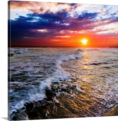 Red And Purple Sea Waves Sunset Square