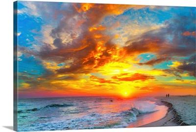Red Ocean Sunset Orange Beach Clouds
