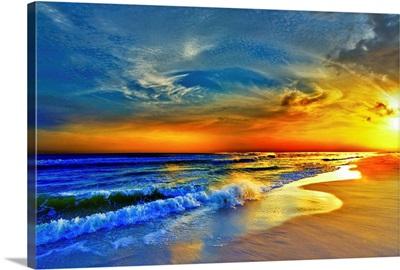 Red Orange Blue Sunset Beach Sea Waves