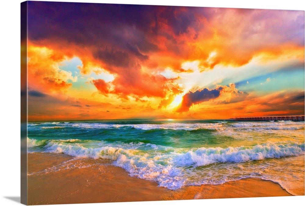 Red Orange Purple Beautiful Beach Sunset Wall Art Canvas Prints Framed Prints Wall Peels Great Big Canvas