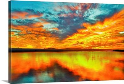 Red Orange Twilight Sunset Over Navarre Bay