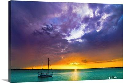 Red Sky Night Sailors Delight Sunset Aqua Sea