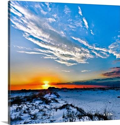 Red Sun White Cloud Blue Sand Hills Landscape