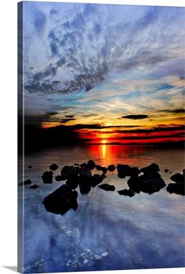 Red Sunset Landscape Blue Sea Cloud Reflection