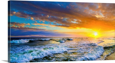 Red Sunset Panorama Red Ocean Sunset With Waves