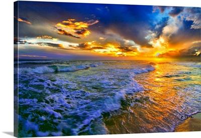 Rolling Blue Seascape Golden Suntrail Sunset Sky