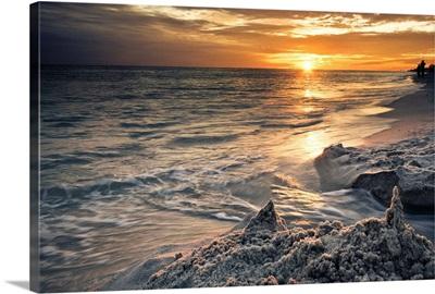 Sand Castle Beach Seascape Orange Sunset