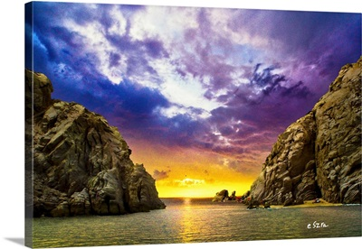 Sea Passage Rocky Cliffs Sunset Fantasy