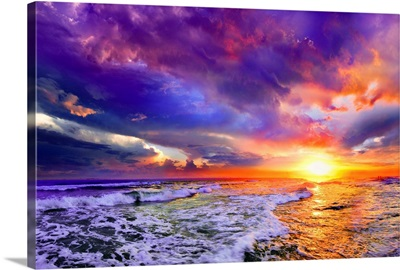 Sea Waves Sunset Abstract Red Purple Pink Clouds