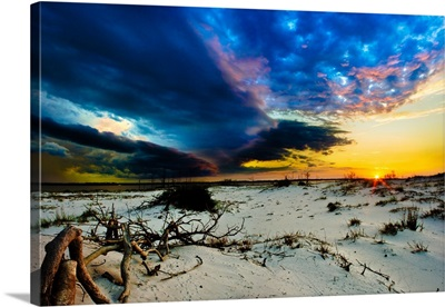 Storm Clouds Approaching Sunset-Blue Landscape