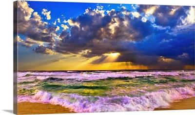 Stormy Sea At Sunset Panorama-Sun Rays