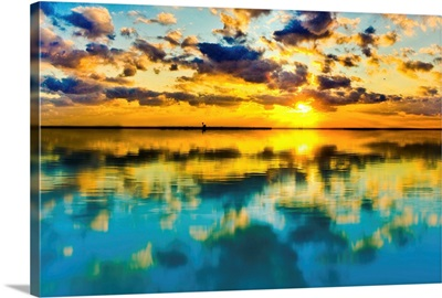 Sunset Lake Reflection Blue Yellow Skyscape