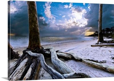 Sunset Lake Sunrays Blue Clouds