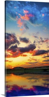 Sunset Reflection Lake-Red Purple Sunset Panorama