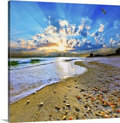 Vibrant Blue Sun Rays Burst Above Beach Shells