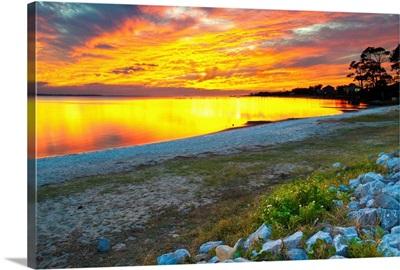 Vibrant Orange And Red Sunset Lake Reflection