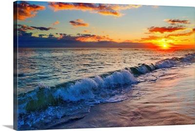 Vibrant Red Sunset Over Breaking Wave Destin