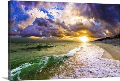 Wave Breaking Surf At Sunset Beach Landscape