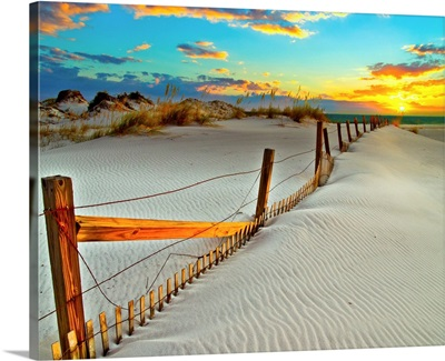 White Sand Beach Sunset-Dunes Crooked Wooden Fence