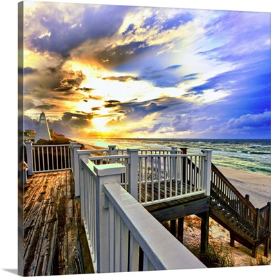 White Staircase Before Beach With Blue Gold Sunset