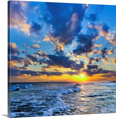 Winter Sunset Florida Beach-Expanding Puffy Clouds