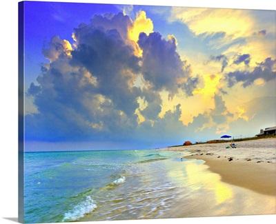 Yellow Blue Seascape Sunset Florida Beach
