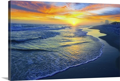 Yellow Sun Sunset Red And Blue Seascape