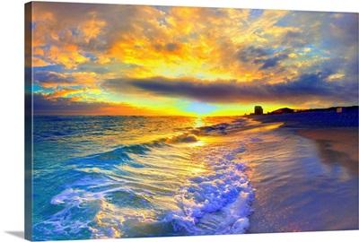 Yellow Sunset Beautiful Beach Sunrise