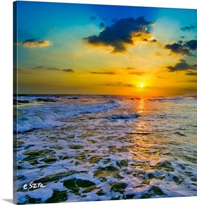 Yellow Sunset Checkered Sea-Square Frame-Sun Rays