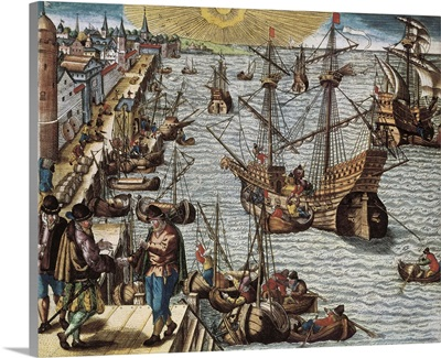 (16th c.) Departure from the harbor of Lisbon towards the Oriental India and Brazil