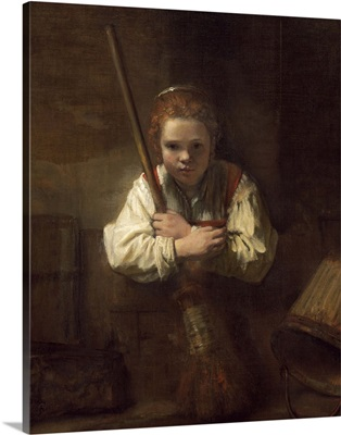 A Girl with a Broom, by Rembrandt's workshop, 1651
