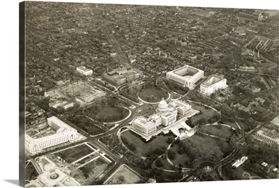 Aerial photo of Capitol Hill, May 1, 1932, with a view of the US Capitol and vicinity