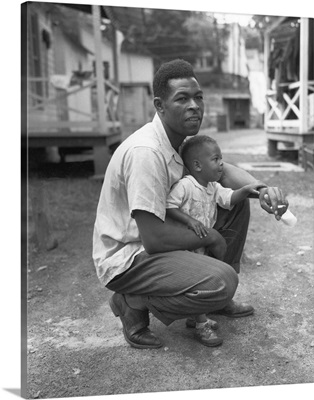 African American Miner With His Little Boy. Grant Town, Marion County, West Virginia.