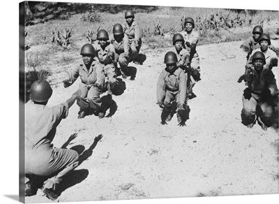 African American Women's Army Corps Nurses In Early-Morning Workout.