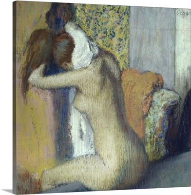 After the Bath-Woman Drying her Neck, 1898, Pastel by French Impressionist Edgar Degas