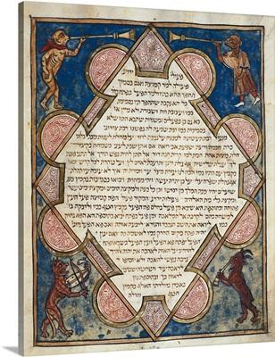 Animal musicians from Jewish Cervera Bible, 1299