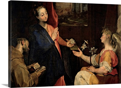 Annunciation with St Francis, by school of Barocci, 17th c. Brera Gallery, Milan, Italy