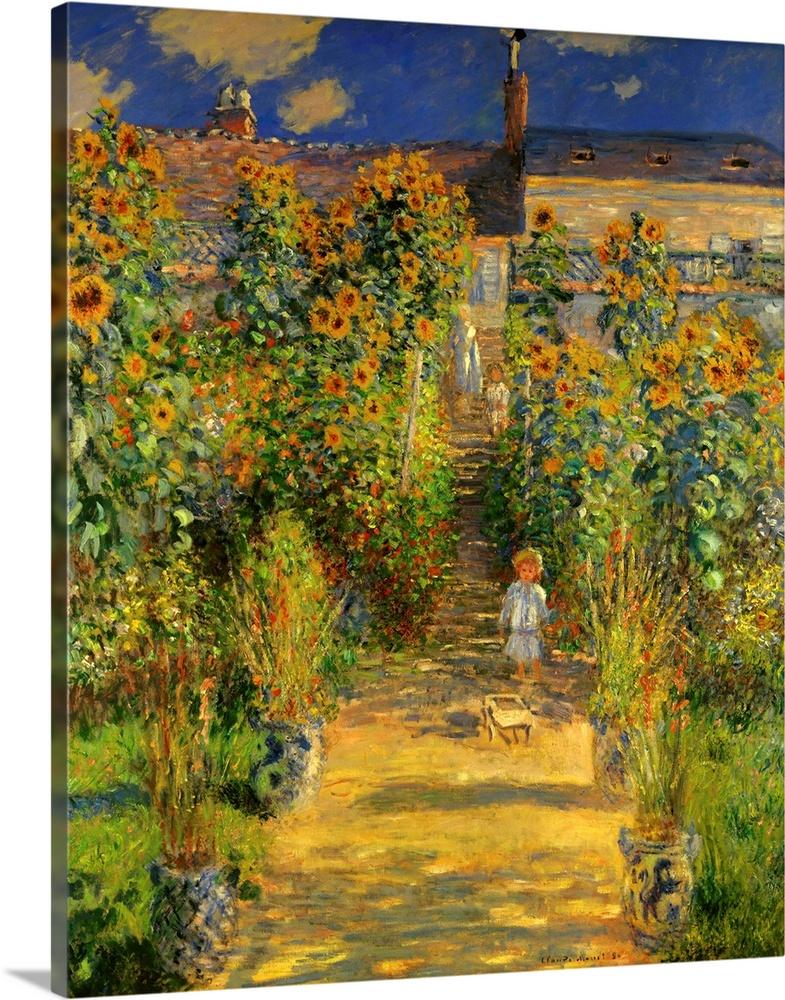 Artistu0027s Garden At Vetheuil, 1880, By French Impressionist Claude Monet