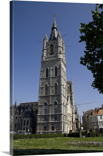 Bell Tower Of The City Hall Ghent Belgium 14th 15th C Gothic Architecture Wall Art