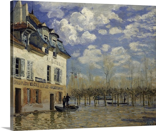 Boat In The Flood At Port Marly 1876 By Impressionist Alfred Sisley 1876 Wall Art Canvas Prints Framed Prints Wall Peels Great Big Canvas