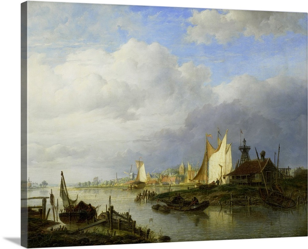Dutch Light Pro.Boats On A River With A Beacon Of Light 1847 Dutch Oil Painting