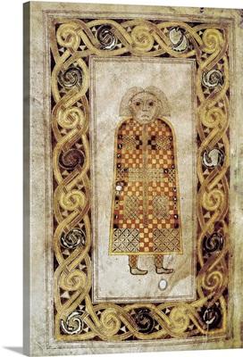 Book of Durrow. ca. 675. The Man, symbol of Saint Matthew. Anglo-Irish art
