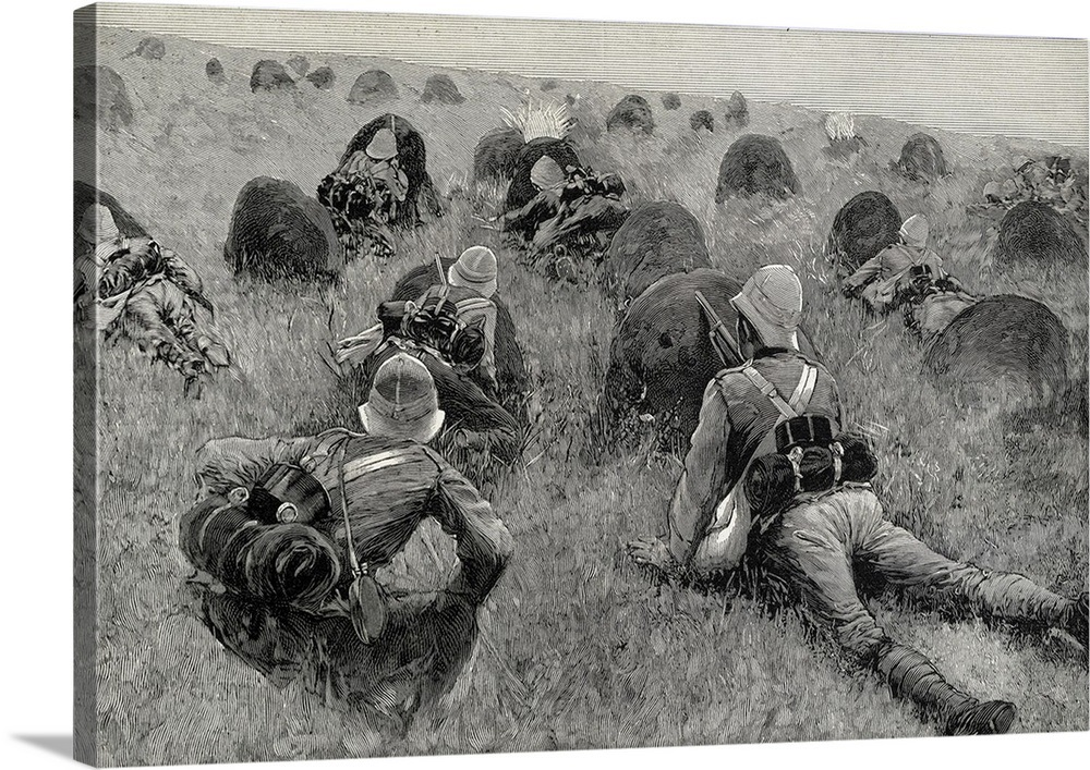 British Soldiers Fighting in Transvaal  Second Anglo-Boer War, 1899-1902   Engraving
