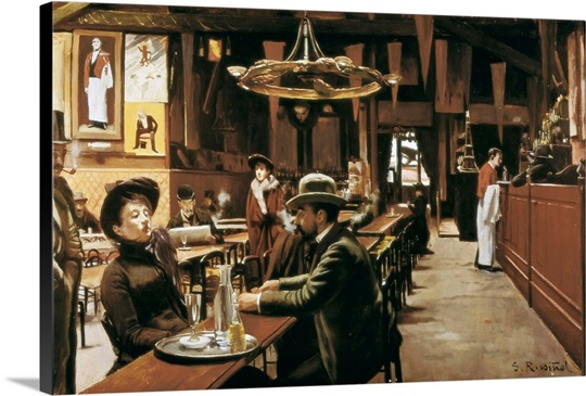 Popular Cafe at Montmartre. 1890. By Santiago Rusinol I Prats. Museum of  ZP98