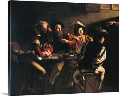 Calling of St. Matthew, by Caravaggio, 1599-1600. San Luigi dei Francesi Church, Rome