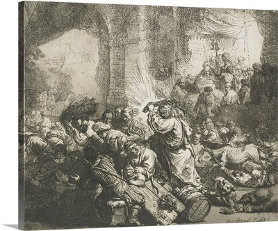 Christ Chases the Moneychangers from the Temple, by Rembrandt, 1635